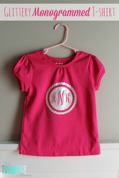 DIY Glittery Monogrammed T-shirt | TheTurquoiseHome.com