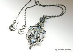 Erin wire wrapped pendant blue topaz Swarovski by MeaJewels