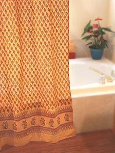 Indian Summer ~ Orange Paisley Cotton Gypsy Shower Curtain