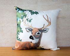 Paint by Number Deer Pillow Cover - buck, stag, woodland, vintage, retro, cushion. $45.00, via Etsy.