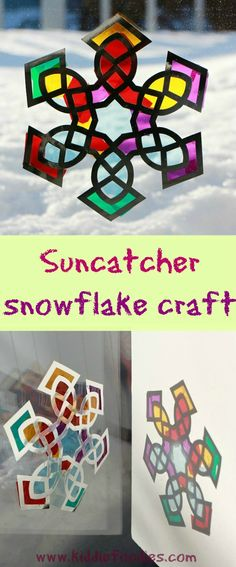 Suncatcher snowflake craft for kids #suncatcher, #snowflake, #craftsforkids