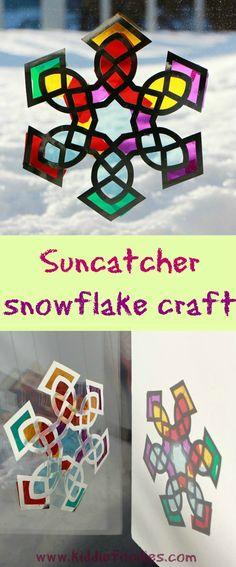 Suncatcher snowflake craft for kids #suncatcher, #snowflake, #craftsforkids