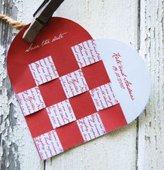 Template for Save the Date woven hearts that tell your story!