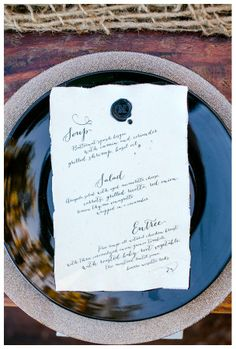 Calligraphy menu with wax seal by Luster Designs, image by Set Free Photography. #wedding