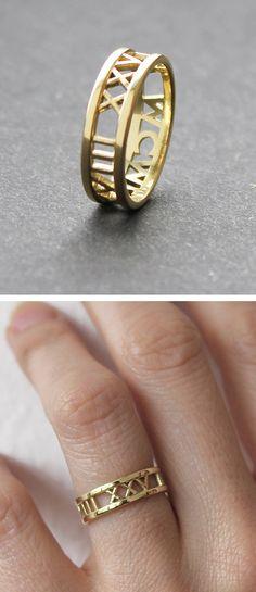 Roman numerals date ring.