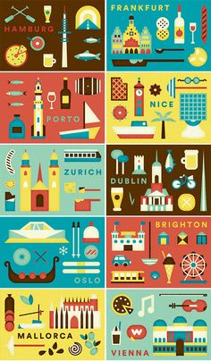 Airbnb European city illustrations