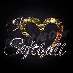 I  softball  Love softball  Rhinestone bling shirt  Blingitallover@gmail.com www.facebook.com/Blingitallover