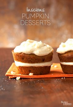Nothing can beat pumpkin-flavors in the fall! Click through for our favorite fall desserts here: http://www.bhg.com/thanksgiving/recipes/luscious-pumpkin-desserts/?socsrc=bhgpin081714pumpkindesserts