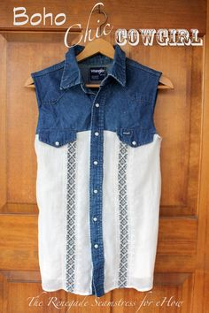 DIY: Boho Chic Cowgirl Shirt. Step by step pictures make this a SUPER easy #diy