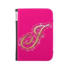 Pink Kindle Case with Initial J