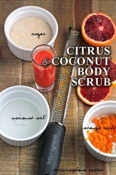 Citrus & Coconut Body Scrub with orange zest, coconut oil, and sugar. Yum!