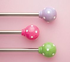 Pink Dotted Curtain Rod! These would make GREAT dog training target sticks & CUTE!