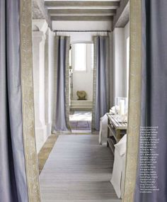 Iffer's Nest- Love these Gray Curtains!!   (Photograph courtesy of May 2011 issue of House Beautiful)
