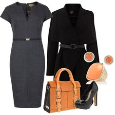 Great pop of color for the first day at work. coral, work fashion, busi, grey, work outfit