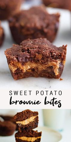 Sneak some veggies into your brownies with these vegan + gluten-free sweet potato brownie bites. No one has to know the secret ingredient! #brownies #sweetpotatoebrownies #browniebites #glutenfree #peanutbutter #eatingbirdfood #healthybaking