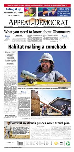 Appeal-Democrat front page for Monday, August 5, 2013.