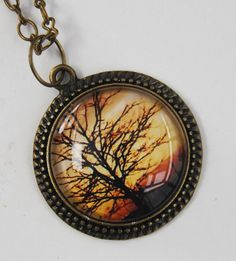 Photo pendant necklace tree silhouette glass by NewCreatioNZ, $23.00