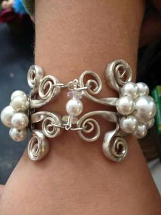 Fork Bracelet with Pearls