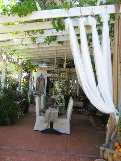 decorating backyard, backyard ideas privacy, outdoor patios, privacy patio, pergola, lunch, garden, patios and porches, curtain