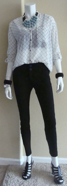 Daily Look: CAbi spring '14 Chessboard Top with a lacy black bralette and vintage Tuxedo Cropped Trouser.  I'm wearing this to see Morrisey tonight!!   Www.debragrauss.cabionline.com