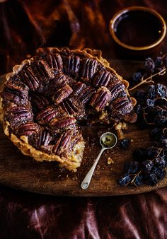 pecan, chocolate and bourbon tart