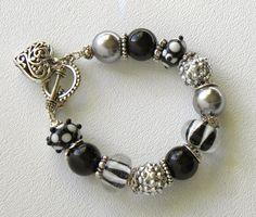 Pave Beads Handmade Beaded Bracelet Lampwork Glass Crystal Heart Charm via Etsy