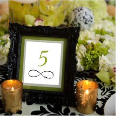 Infinity  Wedding Table Numbers   5 x 7 in Set by LoveSignBoutique, $25.00 wedding tables, idea, someday, centerpiec, tabl number, black frame, wedding table numbers, vintage frames