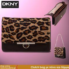 Clutch bag leopard με πόνυ και δέρμα, DKNΥ    shop online >> http://www.styledropper.com/tsouderos?pid=13094=el    Clutch bag από Pony skin μαύρο ή leopard. Έχει αλυσίδα για τον ώμο και κλείνει με κλιπ. Κρατήστε τη μόδα σατ χέρια σας. Για πολλές εμφανίσεις με την υπογραφή της DKNY. Διαστάσεις Μ 24 Χ Υ 17