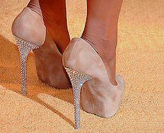 Nude Pumps with Crystal Heels