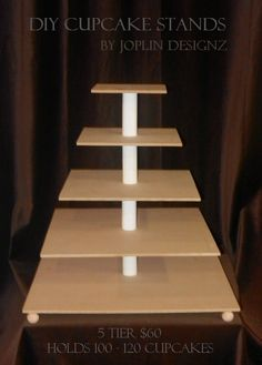 DIY Large 5 tier Cupcake Stand Cake Stand Tower Custom Make your own Cupcake Stand. $60.00, via Etsy.