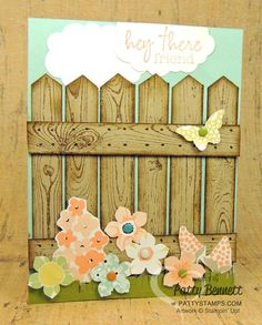 Create a punch art fence with the Hardwood Background stamp and Chevron punch. card by Patty Bennett, www.PattyStamps.com