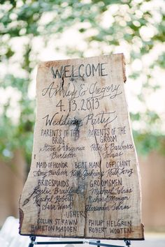 wedding party details on a slab of wood // photo by Sara & Rocky