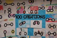 Great idea for art for the 100th day of school. school projects, classroom, art centers, 100 day activities, school crafts, 100th day, art activities, 100 creation, art projects