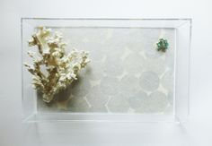 Silver Mums Floral Lucite Tray. $65.00, via Etsy.