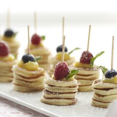 Mini Pancake Stacks - these are perfect treats for a weekend brunch, wedding shower or baby shower