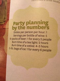 Party planning by the number of people