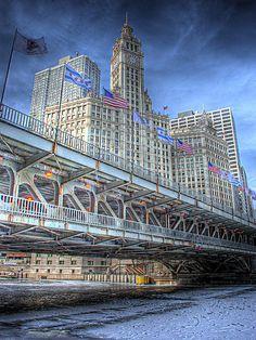 Frozen Chicago River & Wrigley Building