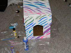 DIY Designer covered Kitten Litter box DIY Cardboard DIY Crafts
