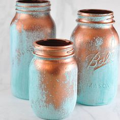 Mason jars painted to look like aging copper!!! This is right up my alley!