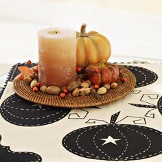 Pumpkin-and-Candle Centerpiece