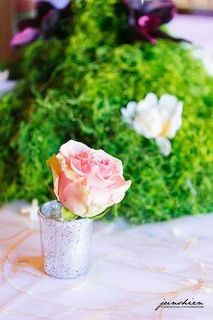 Simple roses in mercury glass votive holders. Junshien International Photographers.