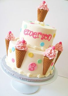 birthday cake decorated with frosted ice-cream cones