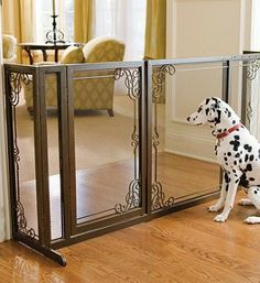 Reminiscent of elegant fireplace screens, our sturdy Bronze-finished Mesh Pet Gates are a decorative alternative to standard pet barriers and are designed to enhance your home's fine décor while keeping pets safely out of the way.