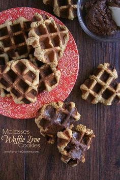 Molasses Waffle Cookies with Chocolate Frosting.