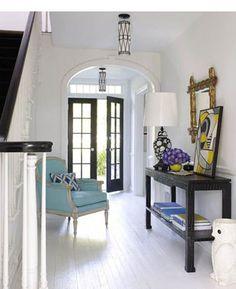 decor, chairs, white, door, foyer, hous, jonathan adler, entryway, painted floors