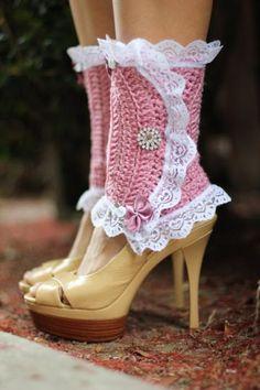 Leg Warmers in Rose by Mademoiselle Mermaid lace, crochet, roses, knit, pink, legs, yarn, shoe, leg warmers