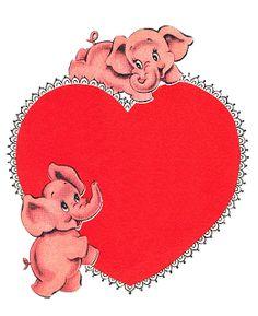 Pink Elephants Vintage Valentine