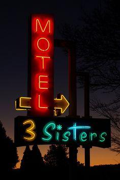 3 Sisters Motel ~ Retro Neon Sign.