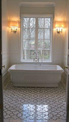 faucet, floor, wash rooms, bathtub, sconc, tile, alcove, master baths, bathroom