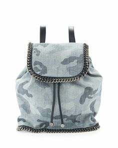 Falabella Camo Canvas Faux-Leather Rucksack, Pale Blue Camo by Stella McCartney at Neiman Marcus. #ShopPolyvore for Summer picnics at the park! @Polyvore #polyvore